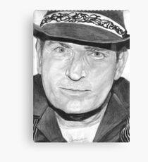 Charlie Sheen Charcoal Portrait Canvas Print