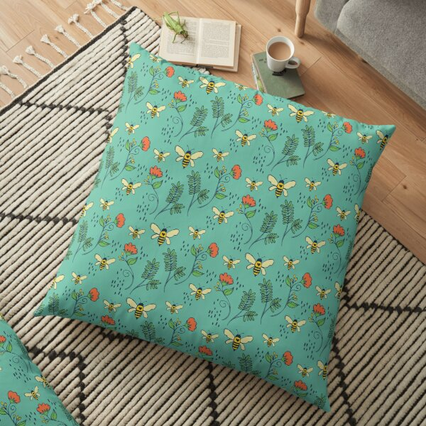 Bees and Flowers Floor Pillow