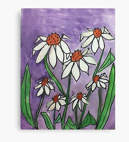 Crazy Daisey backround is Lavender, watercolor, also Calender soon Canvas Print