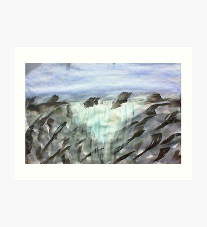 Triangle waterfall, in watercolor Art Print