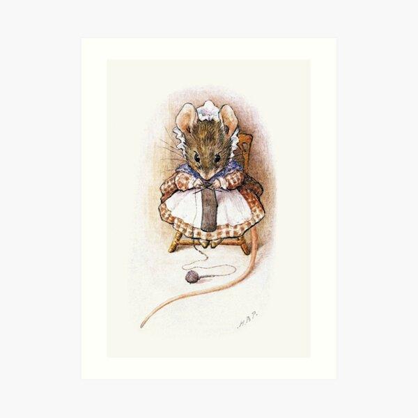 Knitting Mouse - Beatrix Potter Art Print