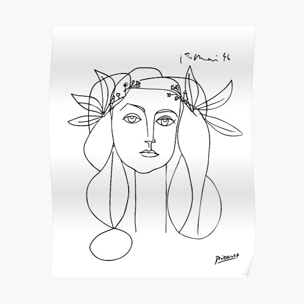 Pablo Picasso Line Art woman with flowers in hair Artwork Sketch black and white Hand Drawn ink Silhouette HD High Quality Poster
