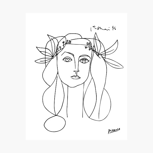 Pablo Picasso Line Art woman with flowers in hair Artwork Sketch black and white Hand Drawn ink Silhouette HD High Quality Photographic Print