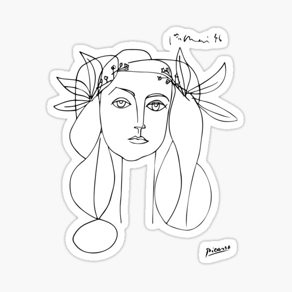 Pablo Picasso Line Art woman with flowers in hair Artwork Sketch black and white Hand Drawn ink Silhouette HD High Quality Sticker