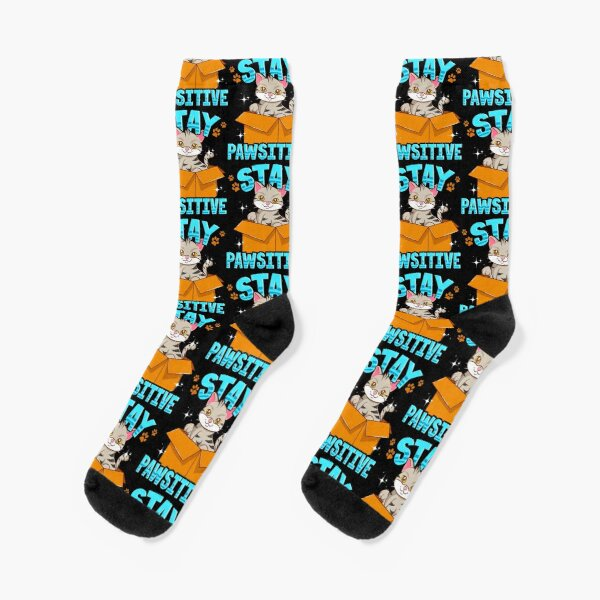 Cute & Funny Stay Pawsitive Kitty Cat Positive Pun Tile Pattern Socks