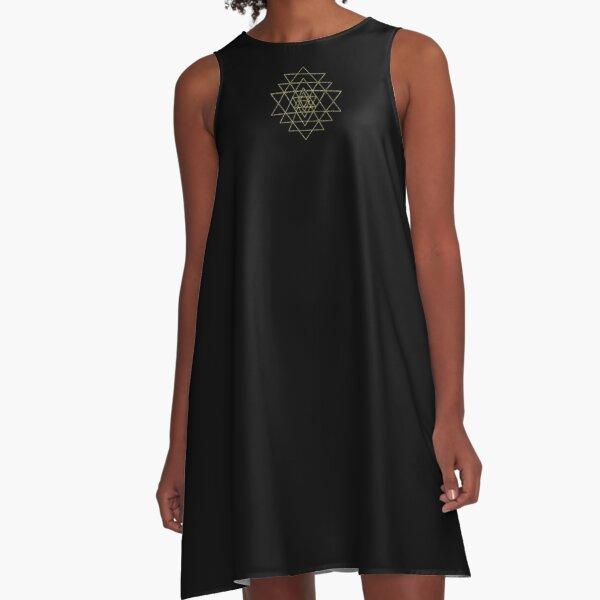Sacred Geometry - Gold A-Line Dress
