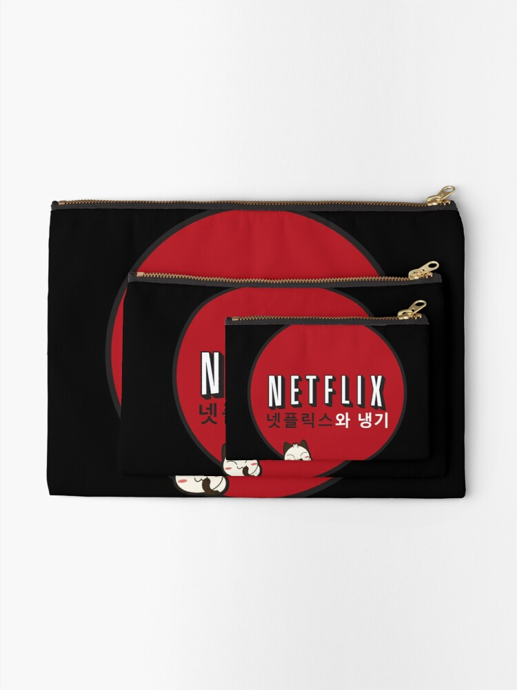 Alternate view of Netflix and Chill South Korea Zipper Pouch