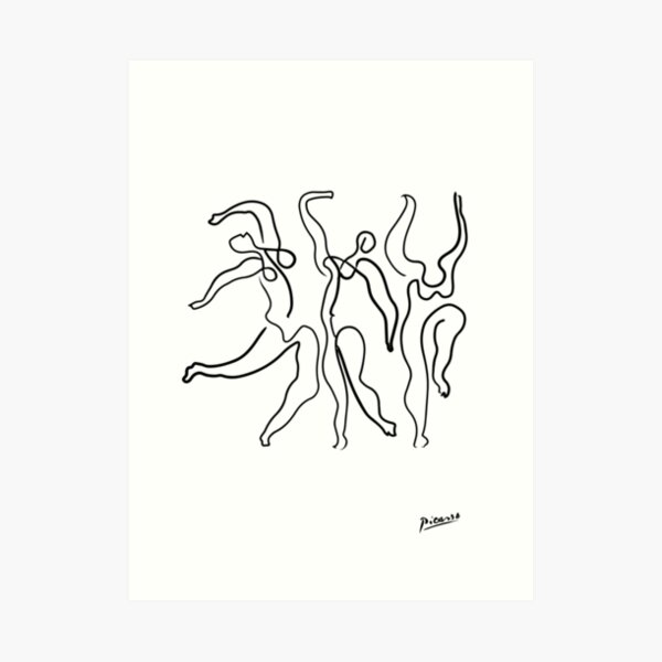 Pablo Picasso Line Art 3 dancing women Artwork Sketch black and white Hand Drawn ink Silhouette HD High Quality Art Print