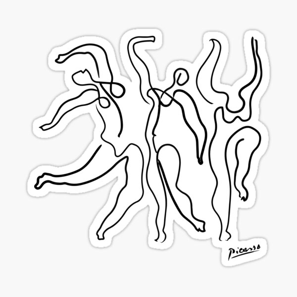 Pablo Picasso Line Art 3 dancing women Artwork Sketch black and white Hand Drawn ink Silhouette HD High Quality Sticker