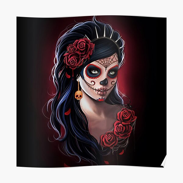 sugar skull floral girl day of the dead ( dia de los muertos)   Poster