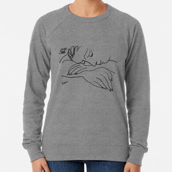Pablo Picasso Line Art Woman Resting on her arms Artwork Sketch black and white Hand Drawn ink Silhouette HD High Quality Lightweight Sweatshirt