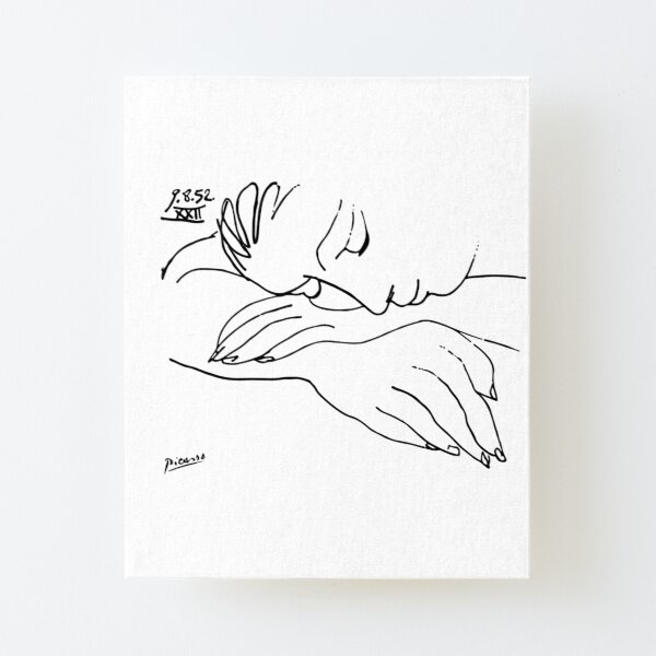 Pablo Picasso Line Art Woman Resting on her arms Artwork Sketch black and white Hand Drawn ink Silhouette HD High Quality Canvas Mounted Print