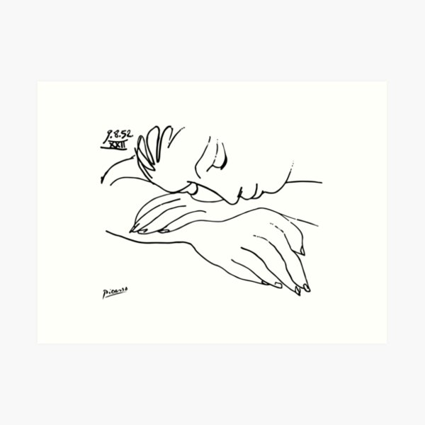 Pablo Picasso Line Art Woman Resting on her arms Artwork Sketch black and white Hand Drawn ink Silhouette HD High Quality Art Print