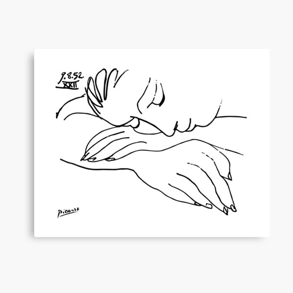 Pablo Picasso Line Art Woman Resting on her arms Artwork Sketch black and white Hand Drawn ink Silhouette HD High Quality Canvas Print