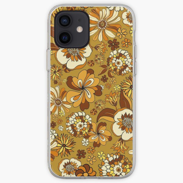 70s Vintage Flower Power floral pattern, orange, mustard, yellow iPhone Soft Case