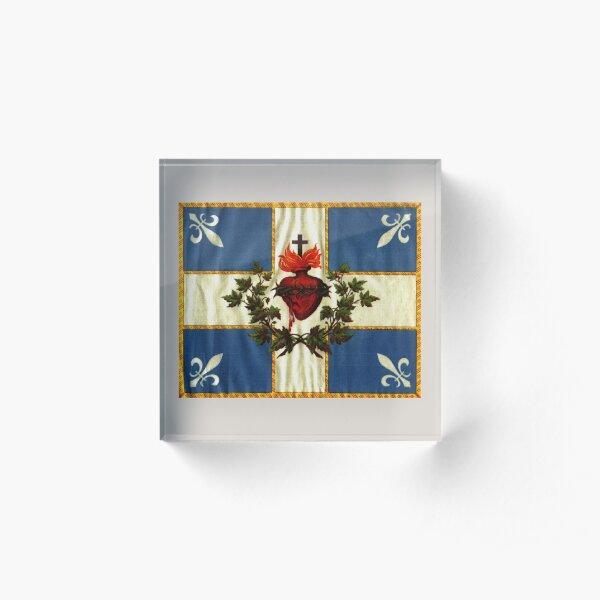 Drapeau du Québec drapeau Carillon Sacré-Cœur Chrétien Ancienne édition catholique avec fleurs de lys et coeur saignant HD HAUTE QUALITÉ Bloc acrylique