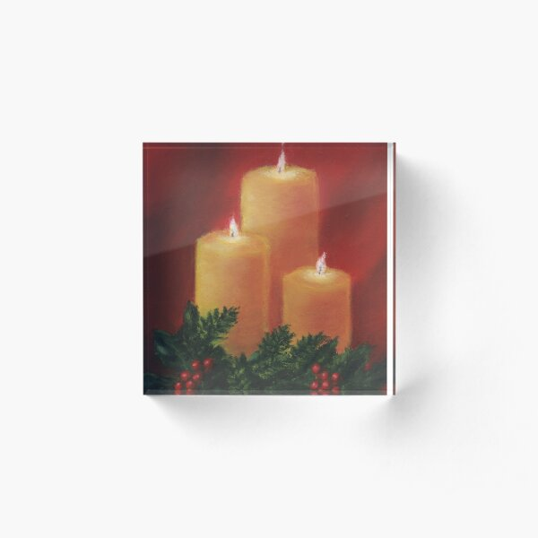 Holiday Candle Trio Acrylic Block