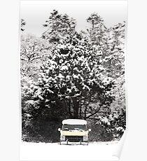 creepy van in snowstorm Poster