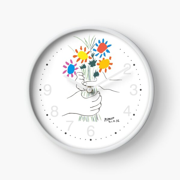 Pablo Picasso Line Art Hands Holding Colorful Flowers Naive Artwork Sketch Hand Drawn ink Silhouette HD High Quality Clock