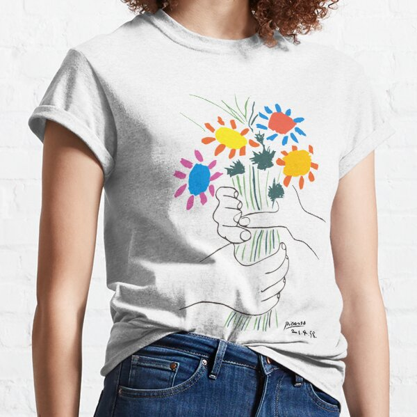 Pablo Picasso Line Art Hands Holding Colorful Flowers Naive Artwork Sketch Hand Drawn ink Silhouette HD High Quality Classic T-Shirt