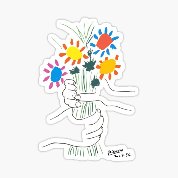 Pablo Picasso Line Art Hands Holding Colorful Flowers Naive Artwork Sketch Hand Drawn ink Silhouette HD High Quality Sticker
