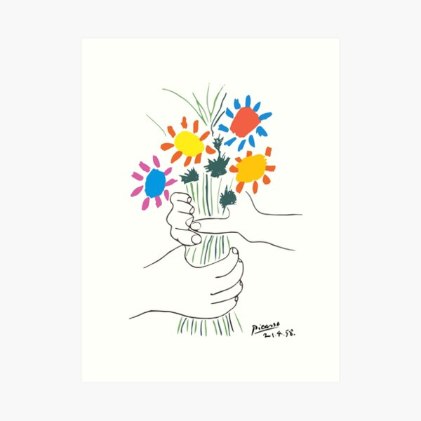 Pablo Picasso Line Art Hands Holding Colorful Flowers Naive Artwork Sketch Hand Drawn ink Silhouette HD High Quality Art Print