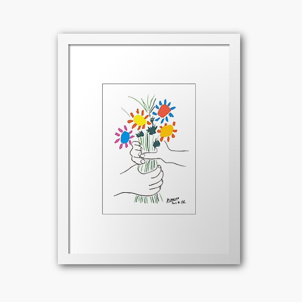 Pablo Picasso Line Art Hands Holding Colorful Flowers Naive Artwork Sketch Hand Drawn ink Silhouette HD High Quality Framed Art Print