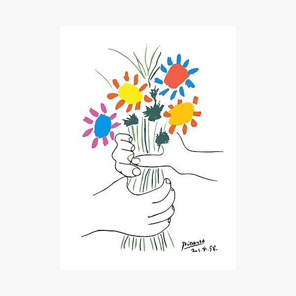 Pablo Picasso Line Art Hands Holding Colorful Flowers Naive Artwork Sketch Hand Drawn ink Silhouette HD High Quality Photographic Print