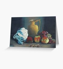 still life wiht antiques, calliflowers, apples, red grapes and walnuts Greeting Card