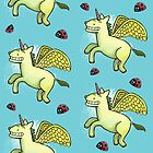 Unicorn Pegasus and Ladybird pattern by pencilfury