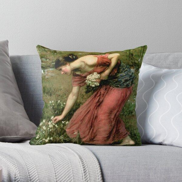 Narcissus - John William Waterhouse  Throw Pillow