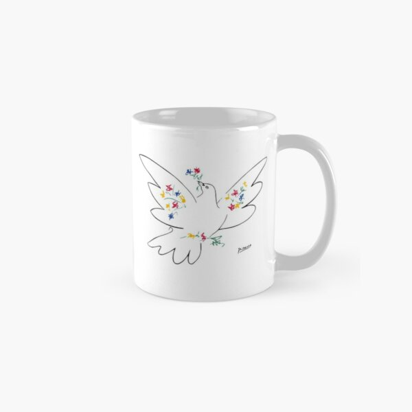 Pablo Picasso Line Art Dove of Peace with Colorful Flowers Naive Artwork Sketch Hand Drawn ink Silhouette HD High Quality Classic Mug