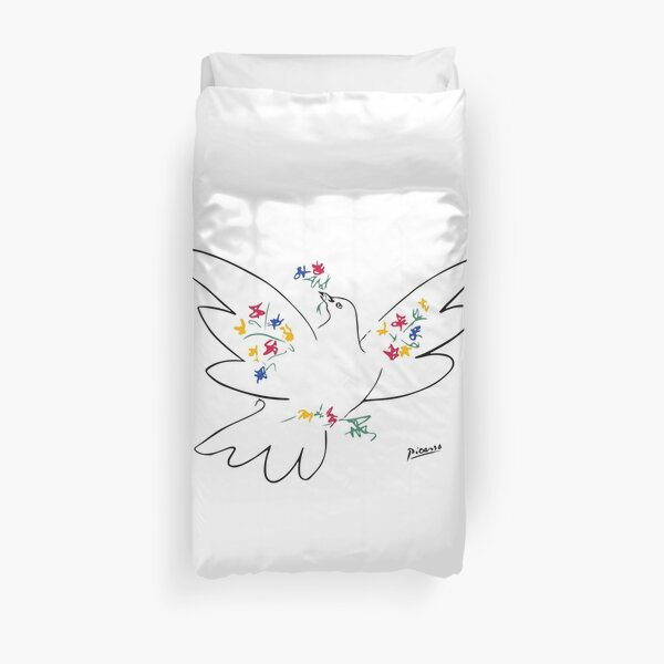 Pablo Picasso Line Art Dove of Peace with Colorful Flowers Naive Artwork Sketch Hand Drawn ink Silhouette HD High Quality Duvet Cover