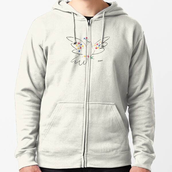 Pablo Picasso Line Art Dove of Peace with Colorful Flowers Naive Artwork Sketch Hand Drawn ink Silhouette HD High Quality Zipped Hoodie