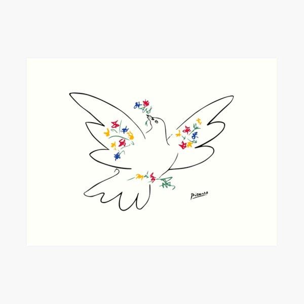 Arte de línea de Pablo Picasso Paloma de la paz con coloridas flores Obra de arte ingenua Boceto Dibujado a mano Tinta Silueta HD Alta calidad Lámina artística