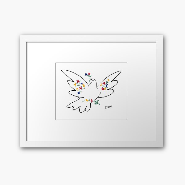 Pablo Picasso Line Art Dove of Peace with Colorful Flowers Naive Artwork Sketch Hand Drawn ink Silhouette HD High Quality Framed Art Print