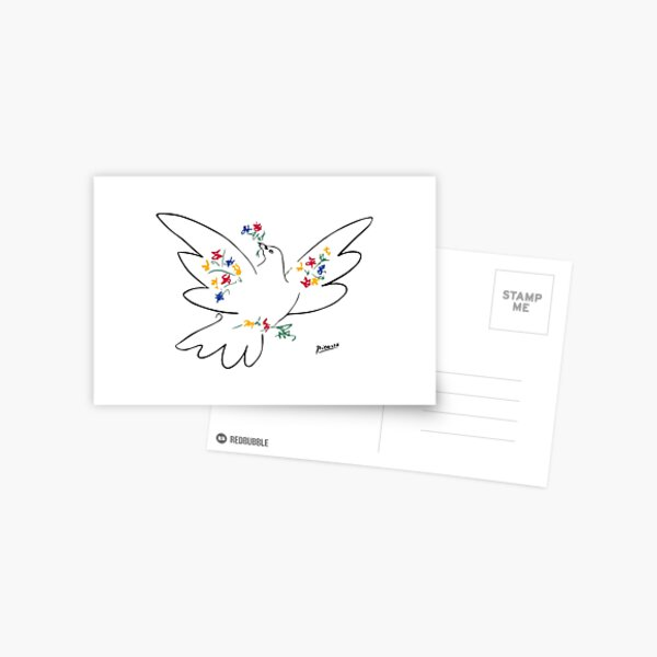 Pablo Picasso Line Art Dove of Peace with Colorful Flowers Naive Artwork Sketch Hand Drawn ink Silhouette HD High Quality Postcard