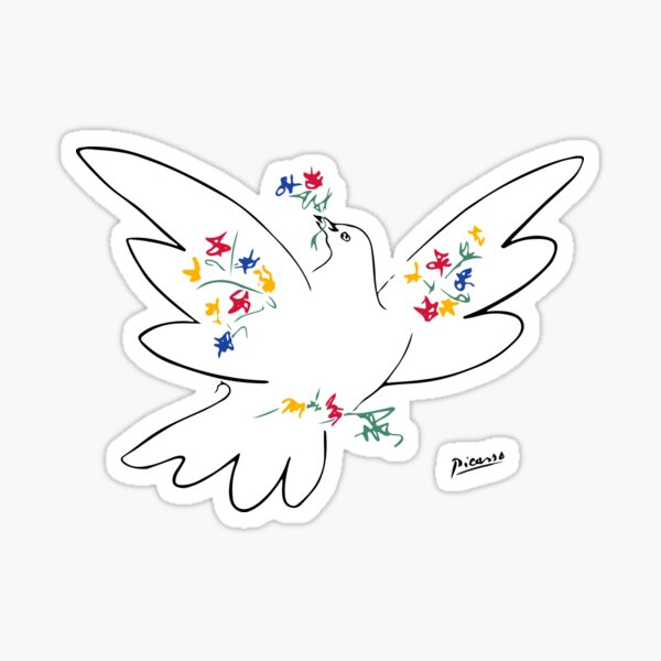 Pablo Picasso Line Art Dove of Peace with Colorful Flowers Naive Artwork Sketch Hand Drawn ink Silhouette HD High Quality Sticker