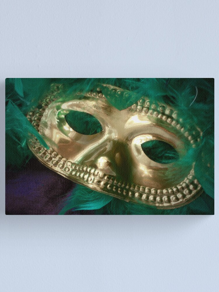 Alternate view of Mardi Gras Mask and Boa Canvas Print
