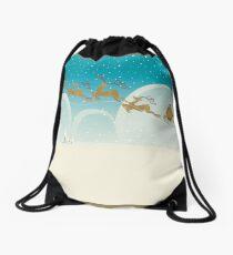 Santa Claus Deer Drawstring Bag