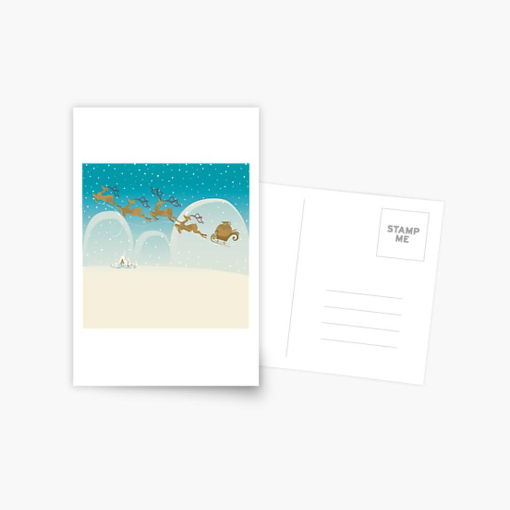 Santa Claus Deer Postcard