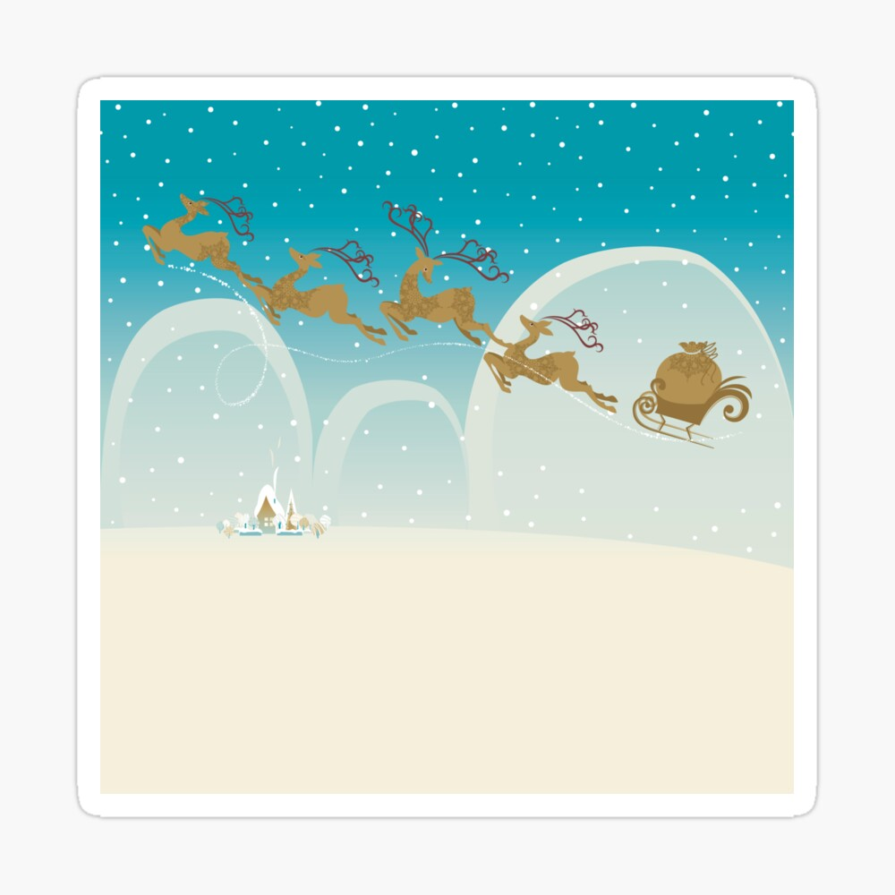 Santa Claus Deer Sticker