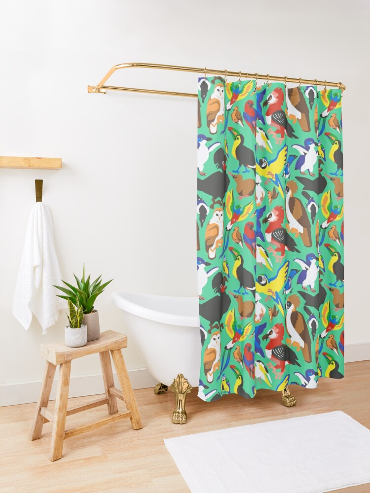 Alternate view of To Feather, But Not to Scale Shower Curtain