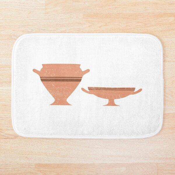 Greek Pottery 34 - Bell Krater, Kylix - Terracotta Series - Modern, Contemporary, Minimal Abstract Bath Mat