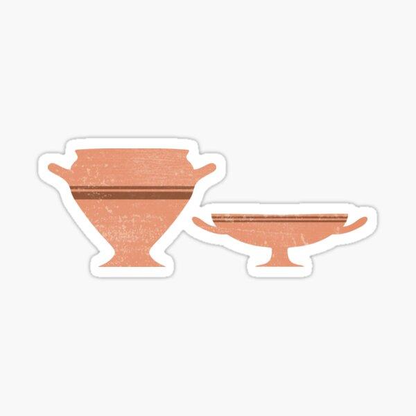 Greek Pottery 34 - Bell Krater, Kylix - Terracotta Series - Modern, Contemporary, Minimal Abstract Sticker