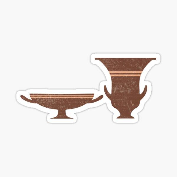 Greek Pottery 35 - Bell Krater, Kylix - Terracotta Series - Modern, Contemporary, Minimal Abstract - Burnt Umber Sticker