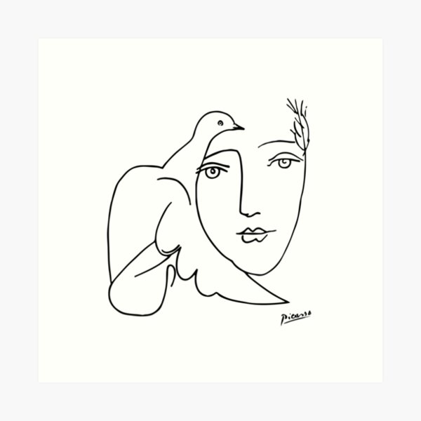 Pablo Picasso Line Art woman and peace dove Artwork Sketch black and white Hand Drawn ink Silhouette HD High Quality Art Print