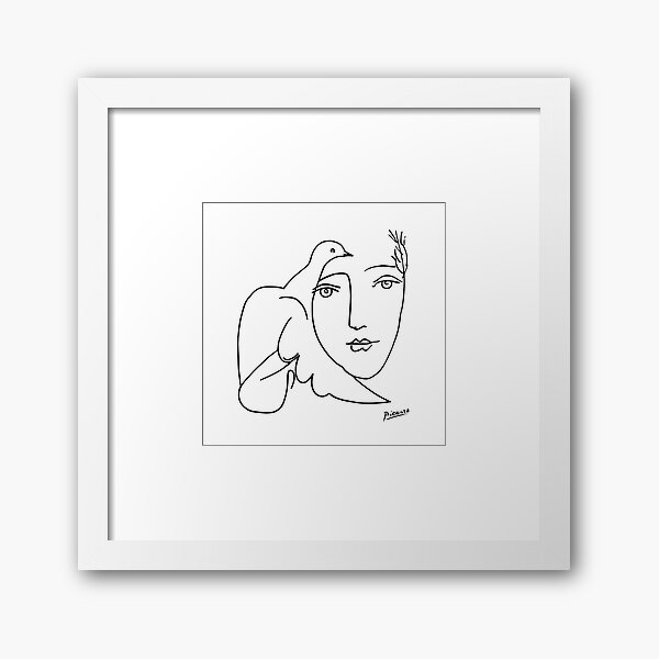 Pablo Picasso Line Art woman and peace dove Artwork Sketch black and white Hand Drawn ink Silhouette HD High Quality Framed Art Print
