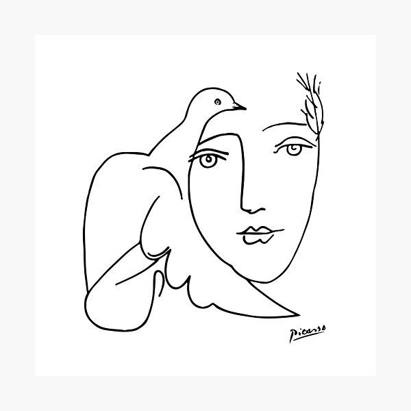 Pablo Picasso Line Art woman and peace dove Artwork Sketch black and white Hand Drawn ink Silhouette HD High Quality Photographic Print