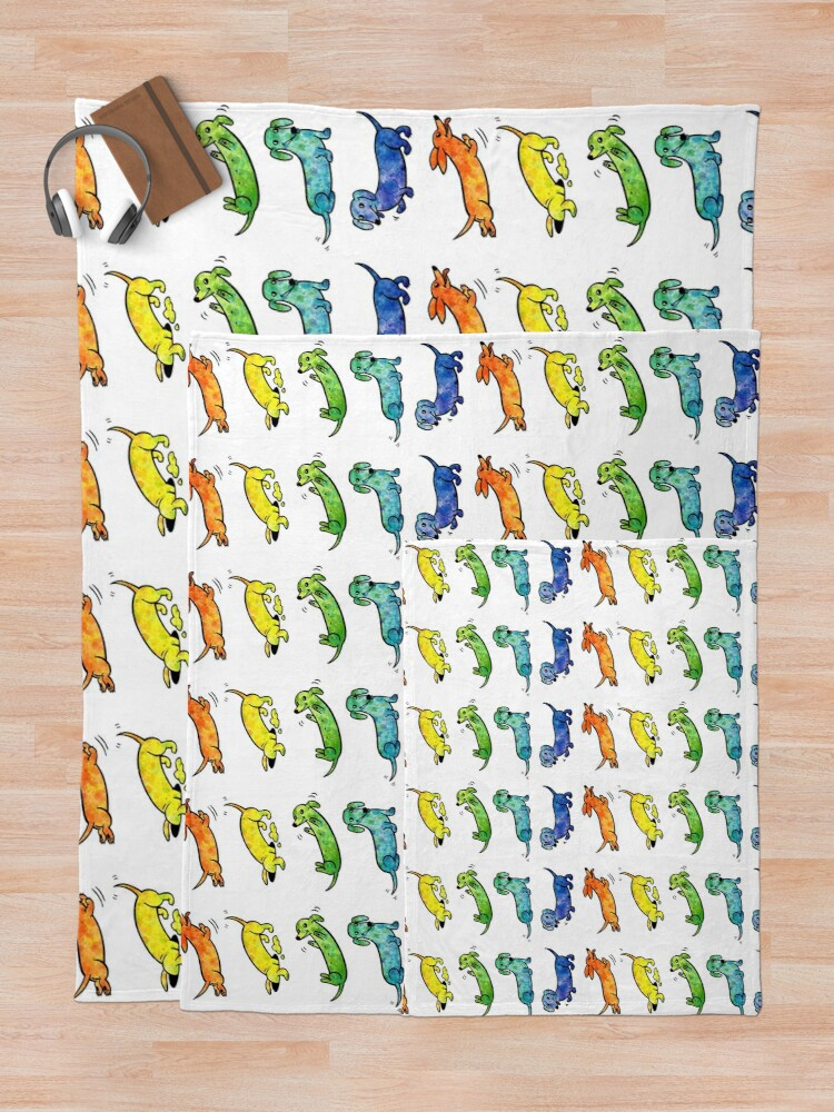 Alternate view of Watercolor Dachshunds Throw Blanket